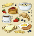 classic delicous breakfast collection set vector image