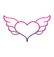 color line heart with wings symbol love art vector image vector image
