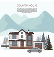 cottage with gray car ski resort wintertime vector image