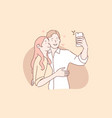 couple in love take selfie concept vector image vector image