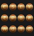 currency coins symbols icons metallic bronze set vector image