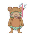 cute little bear with snorkel vector image