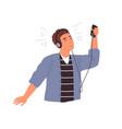 cute male teenager in headphones listening vector image