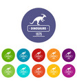dinosaur lizard icons set color vector image vector image