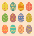 Easter set old ornamental eggs with shadows vector image vector image