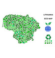 eco green mosaic lithuania map vector image vector image