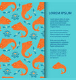flat poster or banner template with fishes and vector image