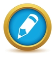 Gold pencil icon vector image