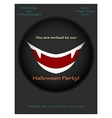 Halloween party invitations with vampire smile vector image