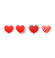 hand drawn hearts icons set design elements vector image