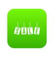 hanging sales tags icon digital green vector image vector image