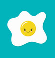 happy cute smiling funny kawaii fried egg cute vector image