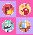 hotel conveniences round cartoon set vector image vector image