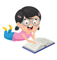 kid reading book vector image