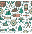 logging and lumberjack with beard seamless pattern vector image