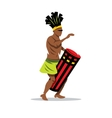 Man playing the Drum African music Cartoon vector image