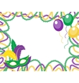Mardi Gras beads colored frame with a mask and vector image vector image