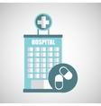 medicine capsule pill hosptial building icon vector image