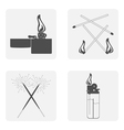 monochrome set with Lighter match fire vector image
