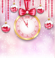 new year background with christmas balls and clock vector image vector image