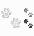 paw footprints mesh carcass model and vector image vector image