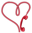 Phone receiver heart vector image vector image
