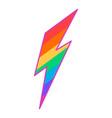 rainbow colored lgbt lightning symbol gay rights vector image vector image
