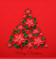 red christmas poinsettia flower vector image vector image