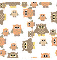 seamless owl pattern vector image vector image