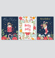 set christmas and new year greeting cards vector image vector image