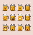 set cute flat design glass of beer character with vector image