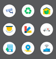 set of smart city icons flat style symbols with vector image vector image