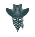 skull cowboy in a mask monochrome hand drawn vector image vector image
