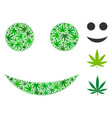 smiley composition of hemp leaves vector image
