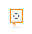square orange speech bubble with live saver