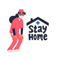 stay home tired young nurse in pink scrubs and vector image vector image