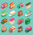 street food transport isometric icon set vector image