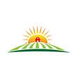 sun and farm harvest label icon vector image vector image