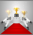 winner awards on victory pedestal vector image vector image