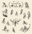 Set hand drawn mountain bike cyclist sketch vector image