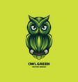 awesome green owl logo design vector image