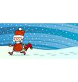 boy santa with sock greeting card vector image vector image