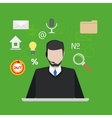Call center or support with man flat style vector image vector image