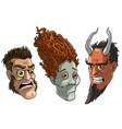 cartoon halloween angry zombie devil monsters vector image