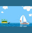 character male fishing person on yacht tropical vector image vector image