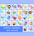 children alphabet posters set vector image