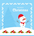 chrismtmas card with frame and snow man vector image