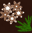 christmas cookies in the form of snowflakes on a vector image vector image