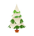 christmas tree in winter with snow cartoon vector image vector image