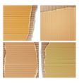 corrugated cardboard set realistic texture vector image vector image